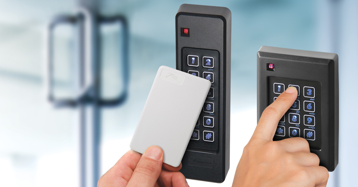 Keypad readers with card and PIN entry